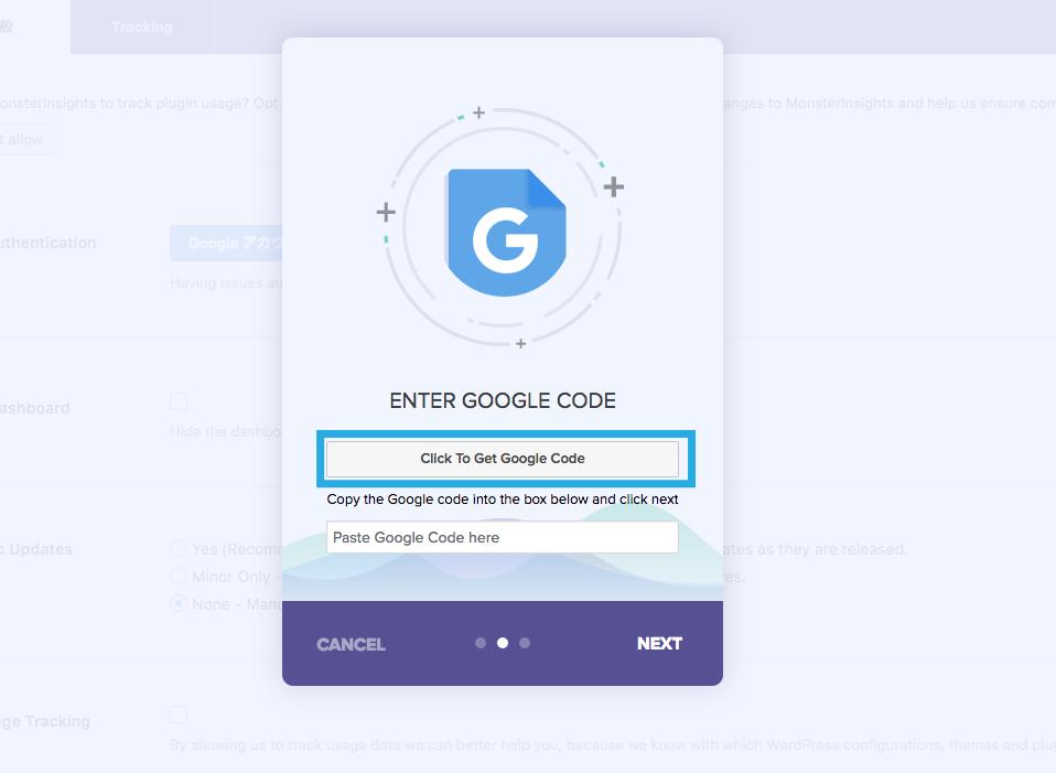 Google Analytics by MonsterInsights設定画面