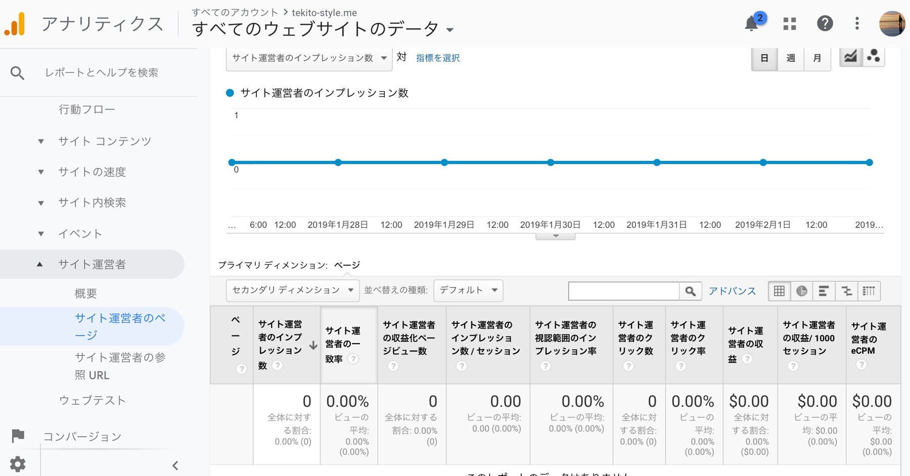 Googleアナリティクスでのアドセンス収益の確認
