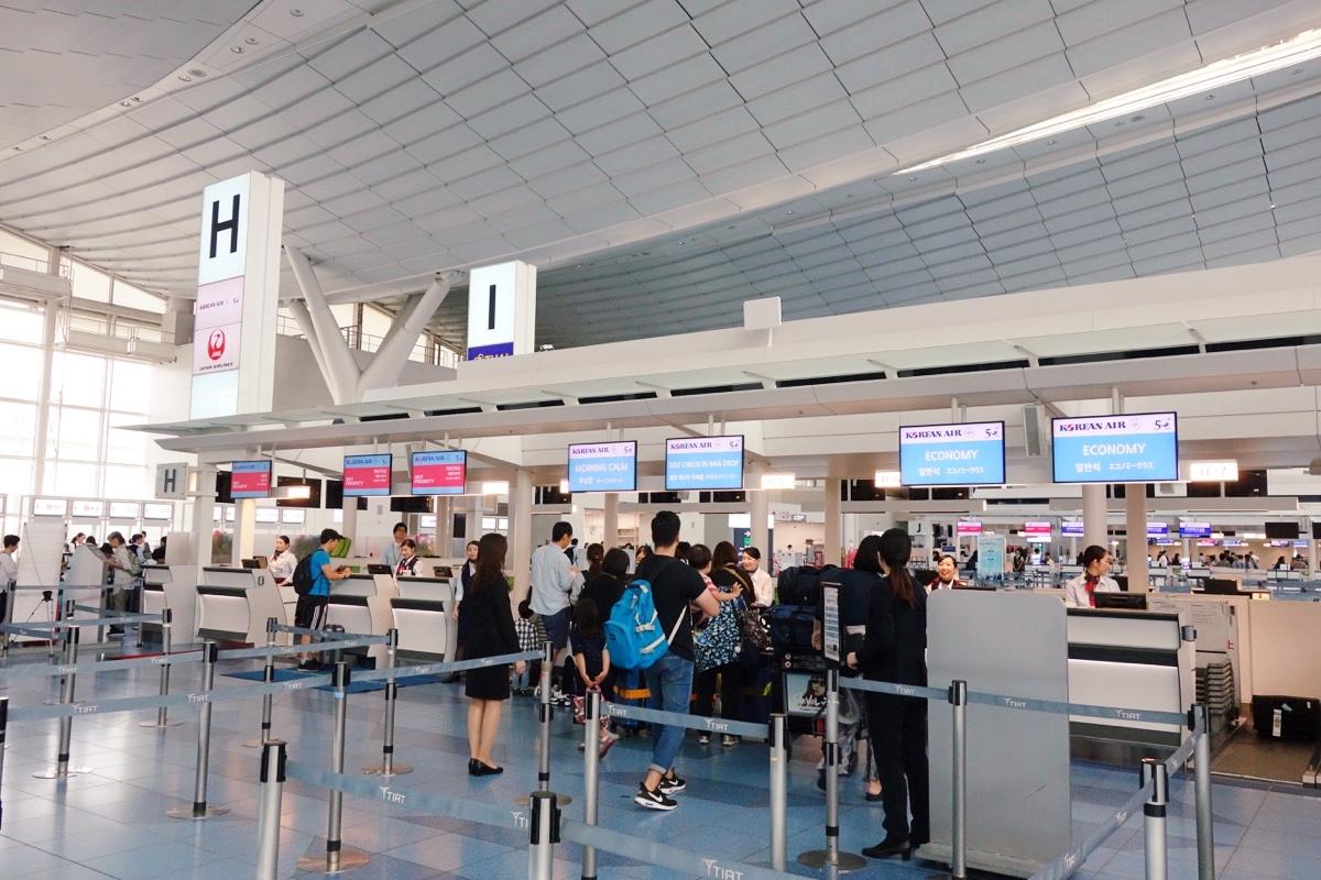 羽田空港の大韓航空のカウンター