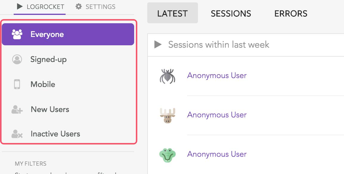 LogRocketでのユーザー属性切り分け